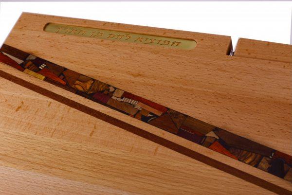 Shabbat Cutting Board w/ Mosaics, Knife, & Blessing - Challah Cutting Board -Beech Wood - CUT-KMB-O-Beech