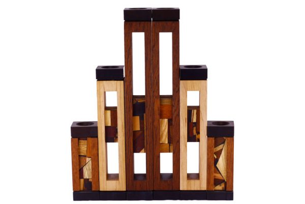 Wooden Candlesticks - Shabbat Candles - Judaica Gift - Set of 3-CAN-AA-3-O