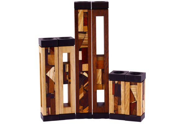 Modern Wooden Candlesticks with Anodized Aluminum - Shabbat Candles - Judaica Gift - CAN-AA-3-3 sizes