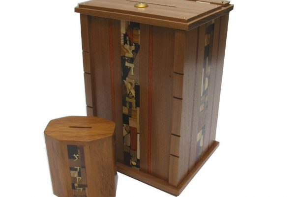 Wooden Wall Mounted Synagogue Sized Tzedakah Box-Synagogue Judaica-Paduak Accents-Size Comparison