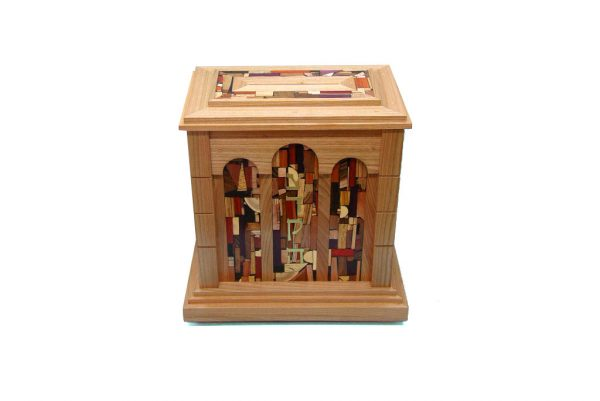 Wall Mounted Synagogue Sized Tzedakah Box-Temple Style-Synagogue Judaica-Top & Front View-Cherry