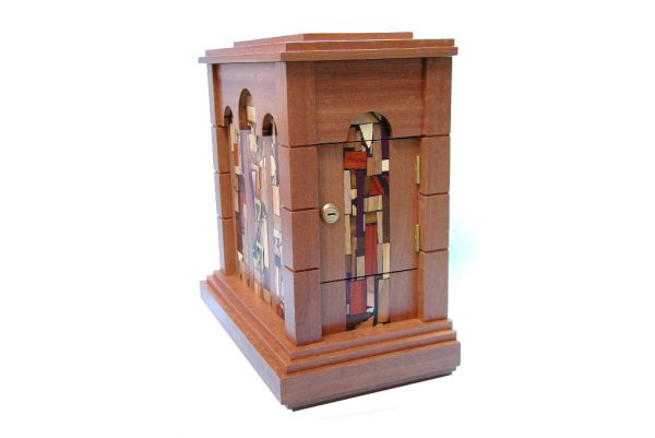 Wall Mounted Synagogue Sized Tzedakah Box-Temple Style-Synagogue Judaica-Side View-Sapelli