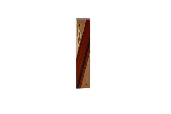 #7 - Wood Mezuzah - Designer Reversi Wood Mezuzah Case - Modern Jewish Gift - Natural Woods - Cherry - Paduak - Ebony - Brass