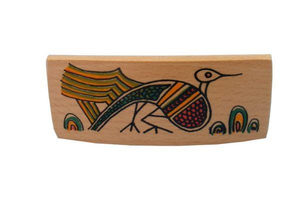 Peacock Archaeology Barrette - Wooden Biblical Barrette-BARR-Peacock-O-O