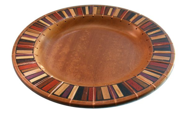 Designer-Platter - Wooden Platter - Mosaic and Copper - Shallow Wood Bowl - BOWL-CopperMosaics-O-sapelli
