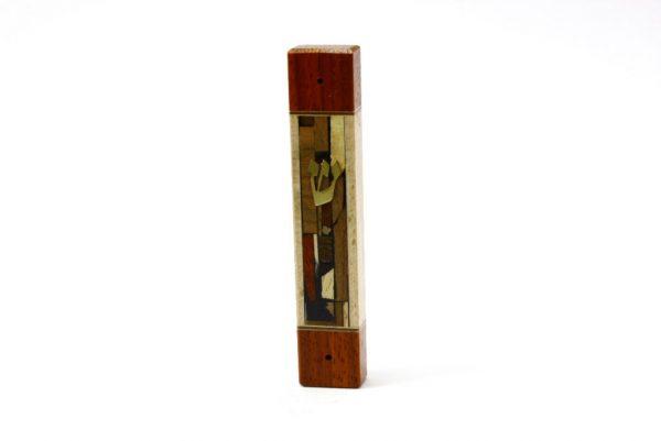 Mosaic Wide Mezuzah Case-Wooden Mezuzah- Jewish Housewarming Gift-MEZ-MW-S-mappad-RWL-MG_3617