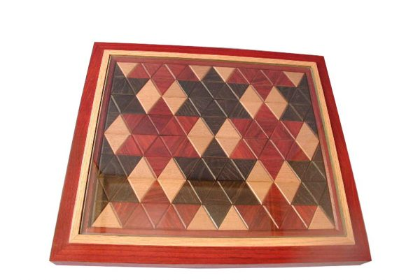 Designer Cutting Board With Integral Knife & Tempered Glass - Large Stars - Natural Woods - CUTTING-Stars-O-paduak