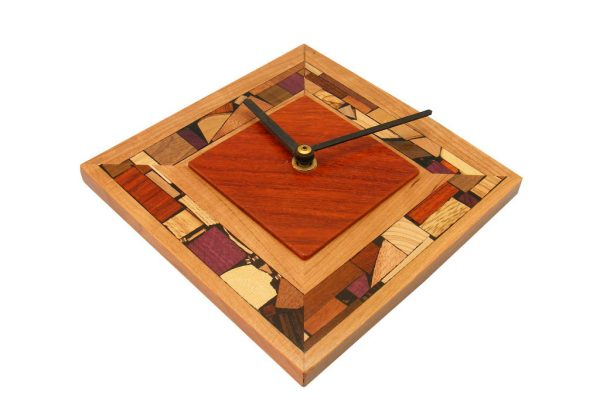 Modern Diamond Shaped Clock - Wood Wall Clock - Wood Home Decor - Paduak & Cherry Woods w/ Wood Mosaics - CLOCK-M-Sq-Paduak