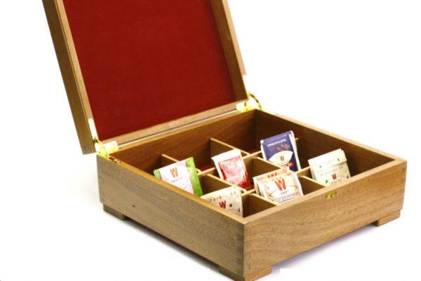 Open Laser Etched Deep Wooden Tea Box-Wooden Tea Box-Tea Chest