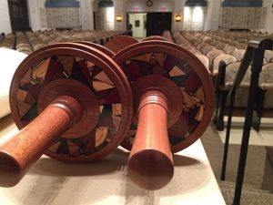 Etz Chaim Torah Rollers-Multiwood Mosaic Decoration-Wooden Torah Rollers-ETZHAYIM-M-O-sap-Deerfield-RW-LindaC