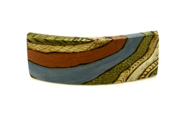 Art Deco Barrette- Colorful Wooden Hair Clip- Womens Accessories